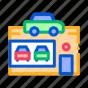 silhouette, concept, dealer, car, auto, de, automobile icon