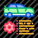 auto, car, dealership, document, feature, gear, shop