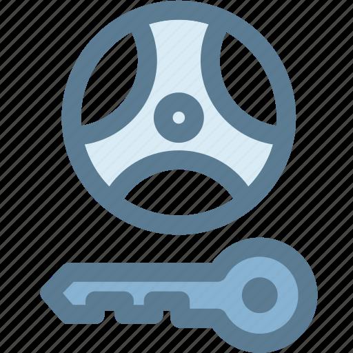 car, engine, lock, steering, steering lock warning, transportation, wheel icon