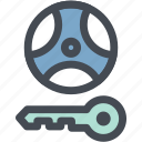 car, engine, lock, steering, steering lock warning, transportation, wheel icon