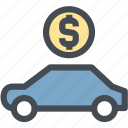car for sale, dashboard, dollar, engine, money, rental car, retail icon