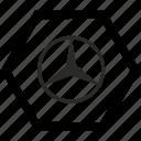 auto, autobile, benz, brand, car, label, mercedes icon