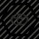 auto, automobile, car, label, toyota icon