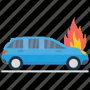automobile burning, burning car, car fire, car heated, engine burning