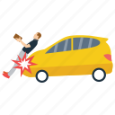 bodily injury, car accident, car hitting, car injury, human accident icon