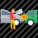 car breakdown, car collision, car crash, road accident, traffic collision icon