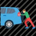 automotive car, man support, presuming car, pushing car, supporting car icon
