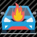 automobile burning, burning car, car engine burning, car fire, car heated