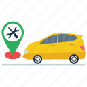 car location, car tracker, driving location, gps, vehicle navigation, workshop location icon