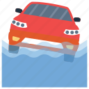 car drowning, car fading, car sinking, car under water, submerging automobile icon