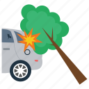car accident, car crash, crash into tree, tree accident, vehicle mishap icon