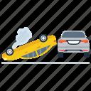 car breakdown, car crash, car roll over, road accident, traffic collision icon
