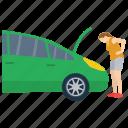 automobile bonnet, car engine heated, car fire, car heat controlling, car heated, stop automobile icon