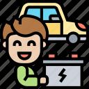 battery, power, electric, car, garage