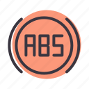 abs, brake, car, enable, engage, indicator, lgiht icon