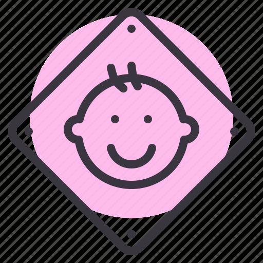 baby, board, car, child, on, safety, sticker icon
