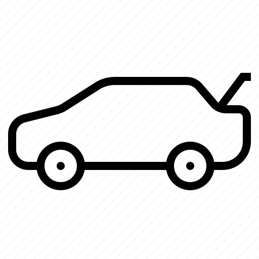 automobile, car, dickey, dicky, open, vehicle icon