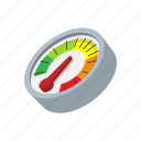 cartoon, measurement, meter, multicolored, power, speed, speedometer icon