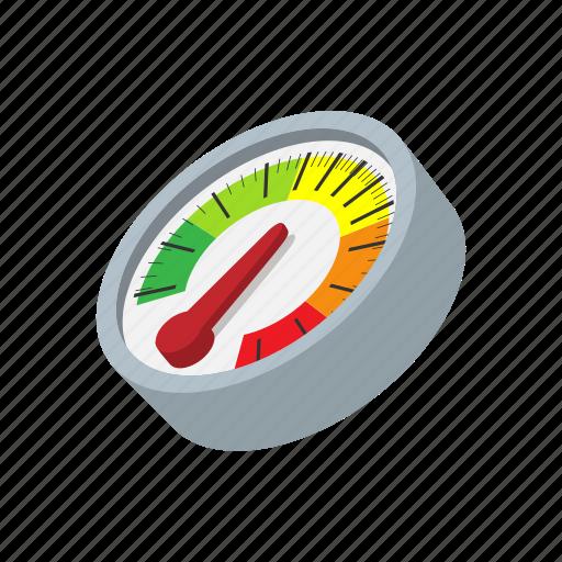 cartoon, measurement, meter, multicolored, power, speed, speedometer icon