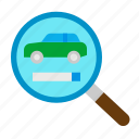 car, inspection, rent, rental, search icon