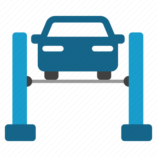 automobile repair, car service, check, lift, support, test icon