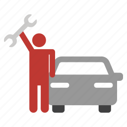 automobile, car, repair, service, serviceman, vehicle, worker icon
