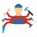 employee, jobs, many armed, multi service, work, worker, workman icon