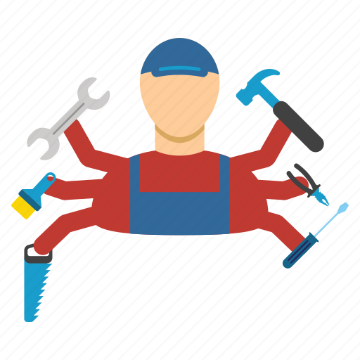 employee, jobs, many armed, multi service, work, worker, workman icon