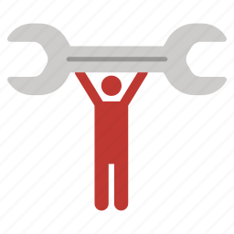 hands up, repair, service, serviceman, support, worker, wrench icon