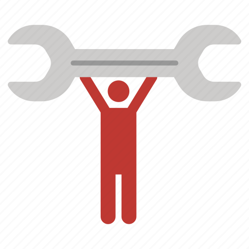Serviceman, repair, service, support, worker, wrench, hands up icon - Download on Iconfinder