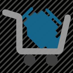 engine, parts, shipment, shopping, spare, transportation, trash icon
