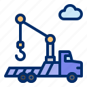 construction, crane, hook, truck, vehicle icon