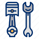 engine, piston, repair, tools, wrench icon
