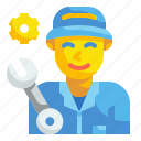 repair, man, worker, mechanic, technician, engineer, professions icon
