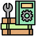 book, guide, manual, miscellaneous, open, setting, wrench icon