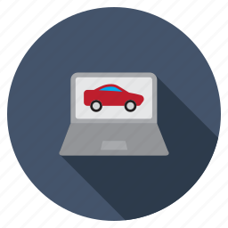 car test, check, computer, laptop, notebook, screen, vehicle icon