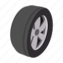 car, cartoon, circle, one, rubber, tire, wheel icon