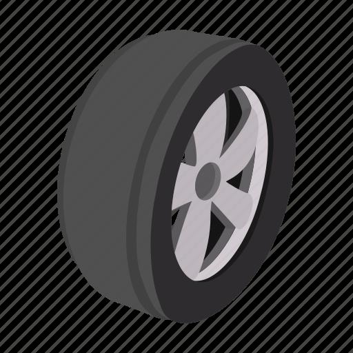 Car Cartoon Circle One Rubber Tire Wheel Icon