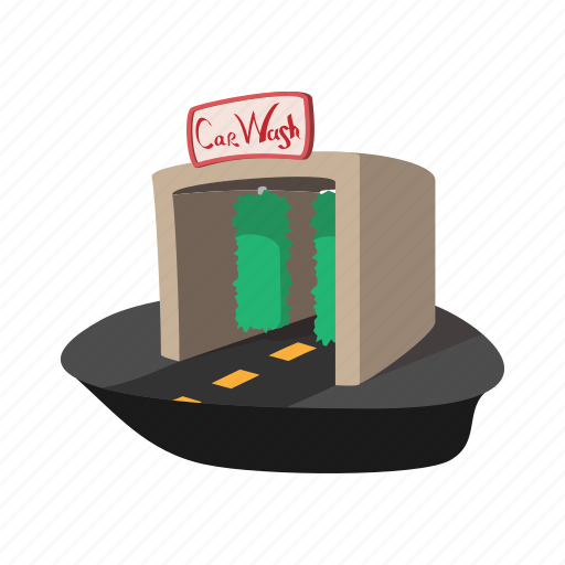 building, car, cartoon, clean, service, shower, wash icon