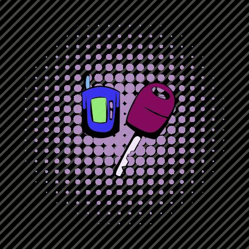 alarm, car, comics, door, key, starter, unlock icon