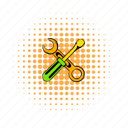 comics, cross, screwdriver, spanner, toolkit, worker, wrench icon
