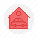 automobile, car, garage, parking, shutter, vehicle icon icon