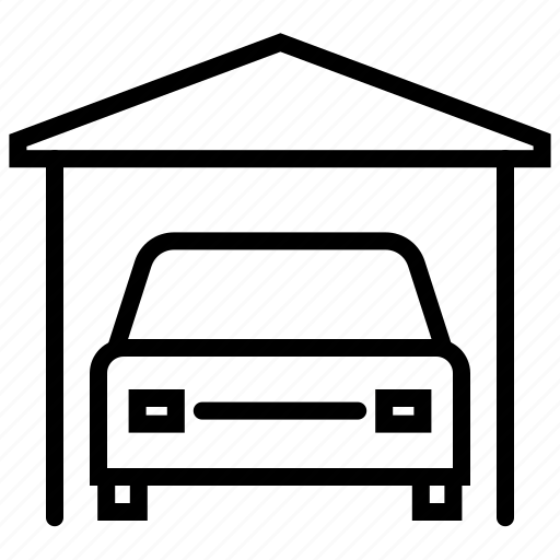 car, car park, car parking, car shed, garage, garbage, parking icon