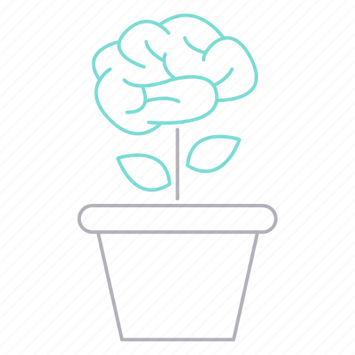 awareness, brain, career, growth, plant, thinking icon