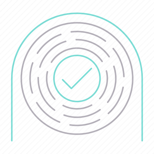 approved, checked, fingerprint, uniqueness icon