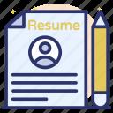 biodata, curriculum vitae, cv, profile, resume icon