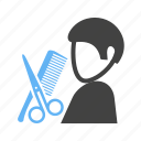 and, barber, comb, hairdresser, scissor icon
