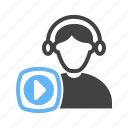 headset, music, player, video icon