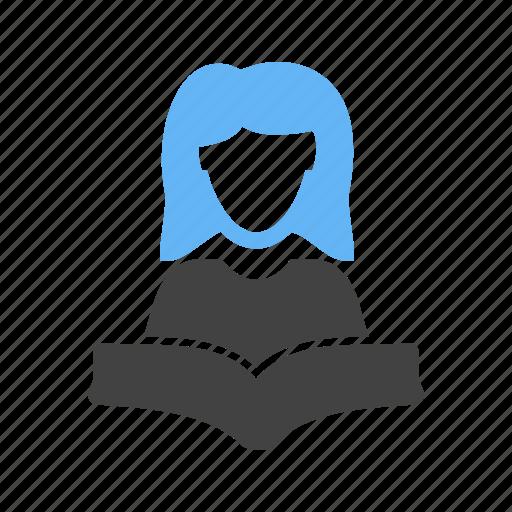 book, female, reading, student icon