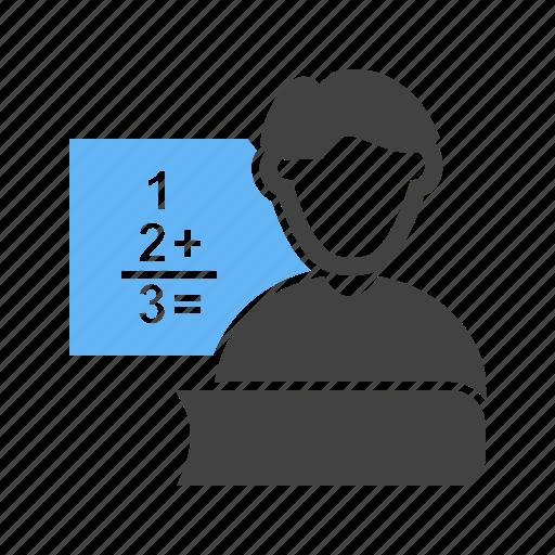 male, maths, teacher, teaching icon